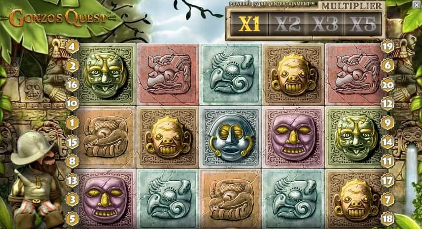 Gonzos Quest är en online slot från svenska NetEnt. På bilden ser vi basspelet i Gonzos Quest.