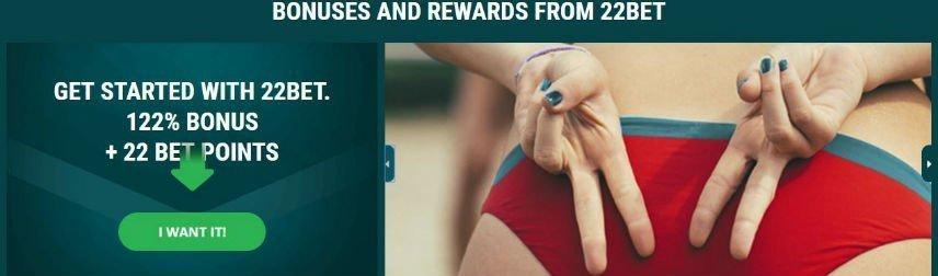 Skärmbild på 22Bets välkomstbonus. På bilden syns bonusen samt en kvinna som visar rumpan och händerna.