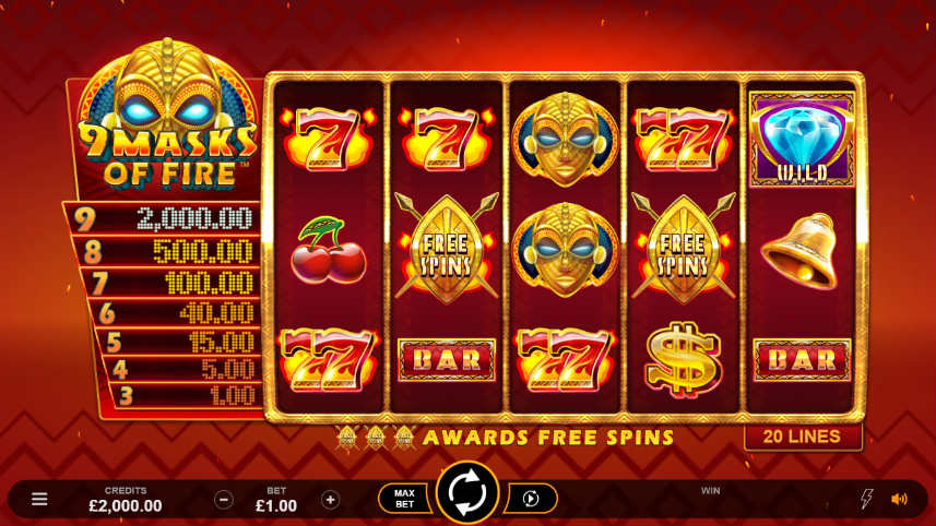 casinospelet 9 Masks of Fire från Play n GO