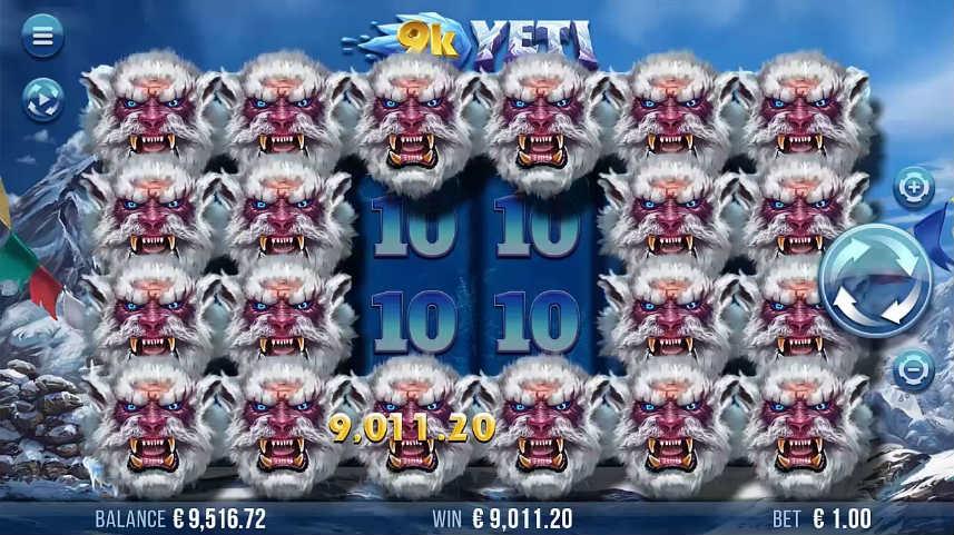 Vinst i online slot 9K Yeti från svenska spelstudion Yggdrasil