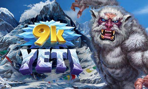 Logotyp och grafik med en Yeti och Mount Everest från casinospelet 9K Yeti
