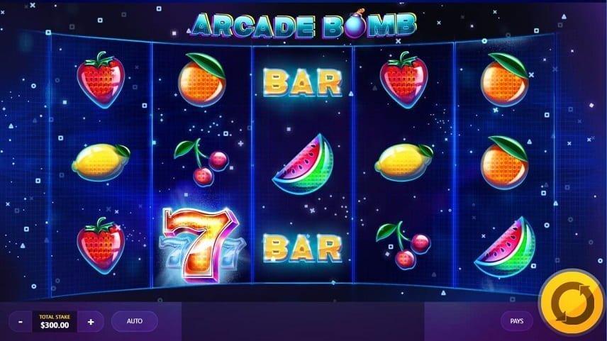 Arcade Bomb innehåller klassiska symboler som körsbär och klockor