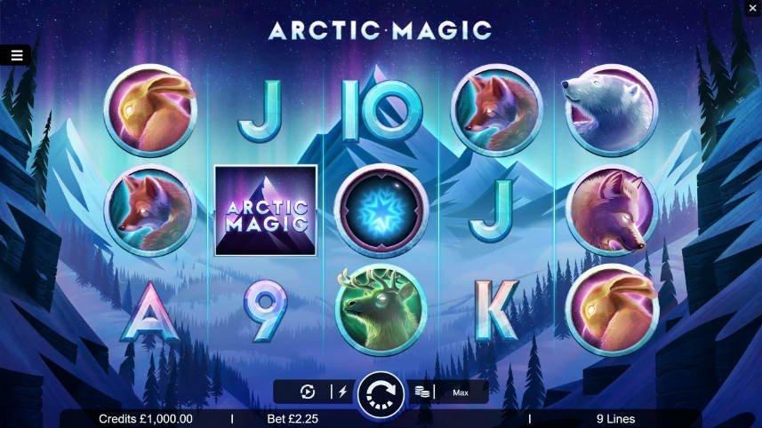 Grundspelet i Arctic Magic. Vi ser casinospelets olika symboler och en vinterbakgrund med ett berg i center.