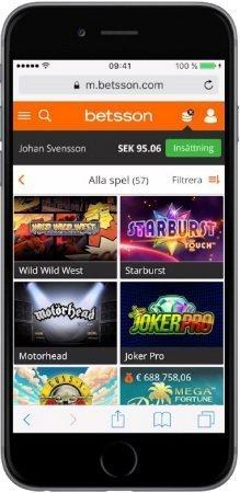 Betsson casino på mobiltelefon