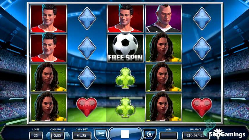 Skärmbild från Yggdrasils casinospel Bicicleta. På bilden ser vi spelytan med dess olika symboler i form av fotbollsspelare, fotboll och casinosymboler. Längst ned ser vi kontrollfältet med insats, saldo, meny och startknapp. I bakgrunden syns en fotbollsarena.