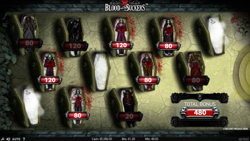Blood Suckers bonusspel. På bilden ser vi 13 olika likkistor. Det är upp till spelaren att välja rätt kista för att förhoppningsvis få en vinst.