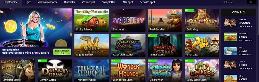 Cashiopeia erbjuder spel från många utvecklare