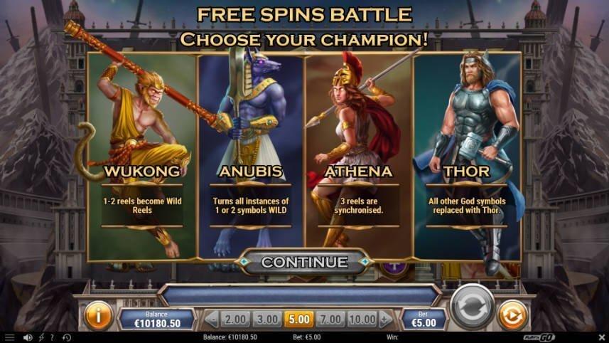 Freespins i Divine Showdown. Du får välja mellan fyra olika gudar som står för temat av frispelsläget.