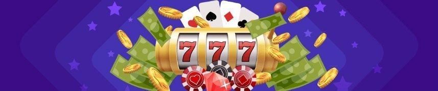 Hjul från en spelautomat, spelkort, diamanter och spelmarker syns på bilden