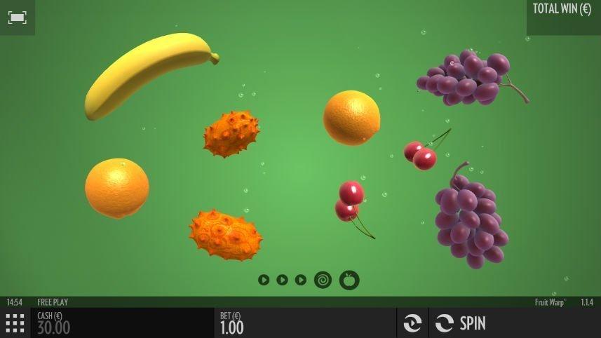 Grundspelet i Thunderkicks casinospel Fruit Warp