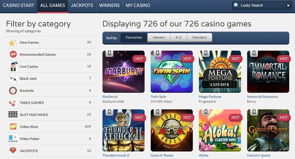 Get Lucky erbjuder spel i mängder