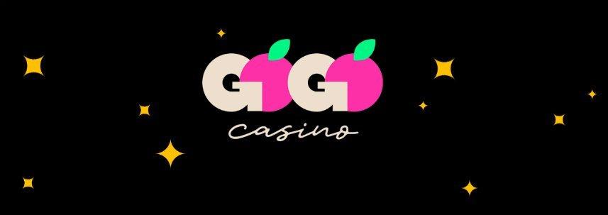 På bilden ser vi GoGo Casinos logotyp samt gula stjärnor på en svart bakgrund.