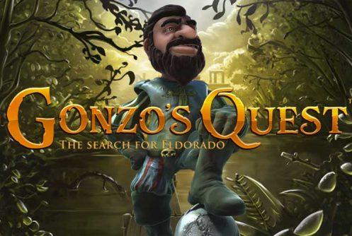 """Grafik från spelet Gonzos Quest. Visar en djungel. I mitten av bilden står karaktären Gonzo. Över bilden står texten: """"Gonzos Quest"""""""