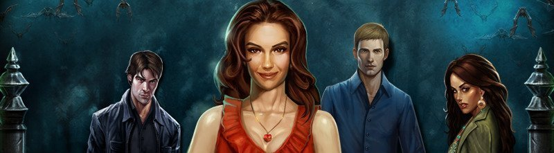 """På denna bilden ser vi fyra karaktärer från casinospelet Blood Suckers. Det är två kvinnor och två män som alla tittar mot """"kameran""""."""