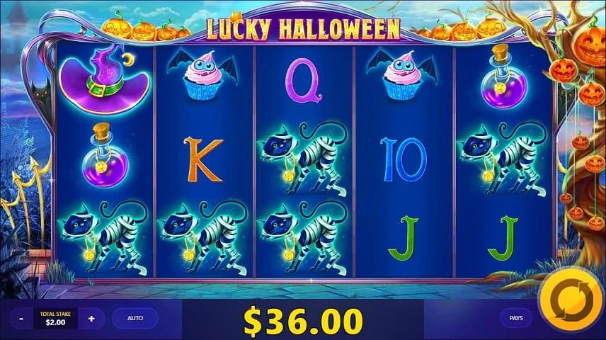 Lucky Halloween innehåller ett flertal funktioner och en maskot som lägger till bonusar