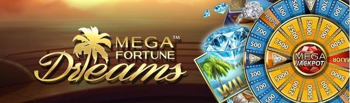 Banner tillhörande spelet Mega Fortune Dreams. Vi ser spelets logotyp til lvänster, till höger ser vi spelets jackpotthjul och diamanter.