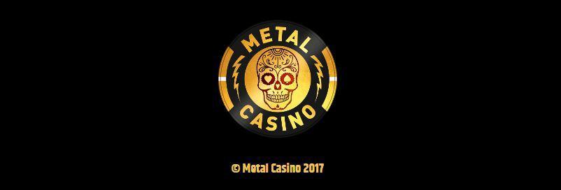 Metal Casinos logotyp ligger på en svart bakgrund.