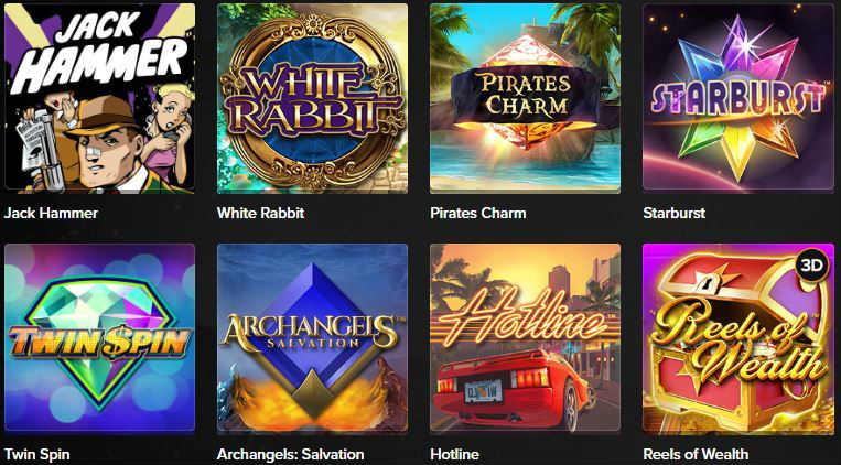 Här ser vi ett urval av populära online slots på Mobil6000. Bland spelen ser vi bland annat Jack Hammer, Starburst, Twin Spin och Hotline.
