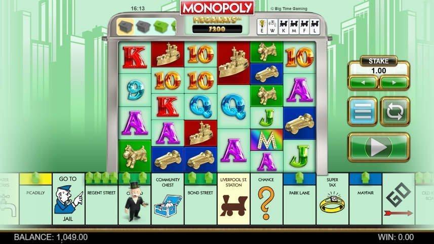 På bilden ser vi spelautomaten Monopoly Megaways från Big Time Gaming. På bilden ser vi själva spelytan där symboler bestående av bokstäver och symboler från Monopol finns. Under ser vi klassiska rutor från originalspelet.