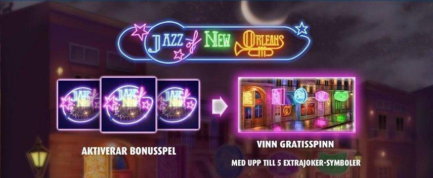 Det är möjligt att få freespins i Jazz of New Orleans