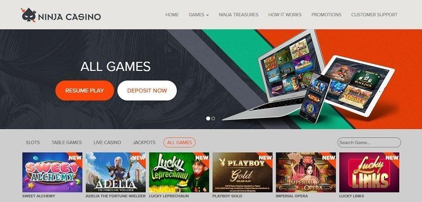 Ninja Casino har spel från några av de största utvecklarna