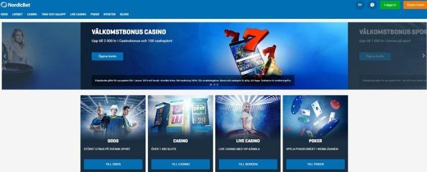 Skärmbild från Nordicbet. Överst ser vi menyn med casinots logotyp och navigation. Längst till vänster är inloggnings- och registreringsalternativ samt kundtjänst och språkinställningar. Nedanför ser vi reklam för casinots välkomstbonus. Under har vi casinots fyra olika sektioner; Odds, Casino, Live Casino och Poker.