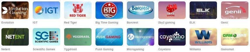 Bilden visar logotyper från ett antal av de olika spelutvecklarna som levererar casinospel till Omnia Casino.