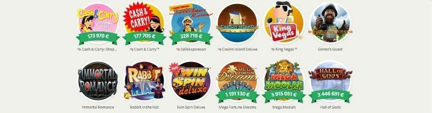Visar ett urval av olika casinospel som finns tillgängliga på Paf Casino
