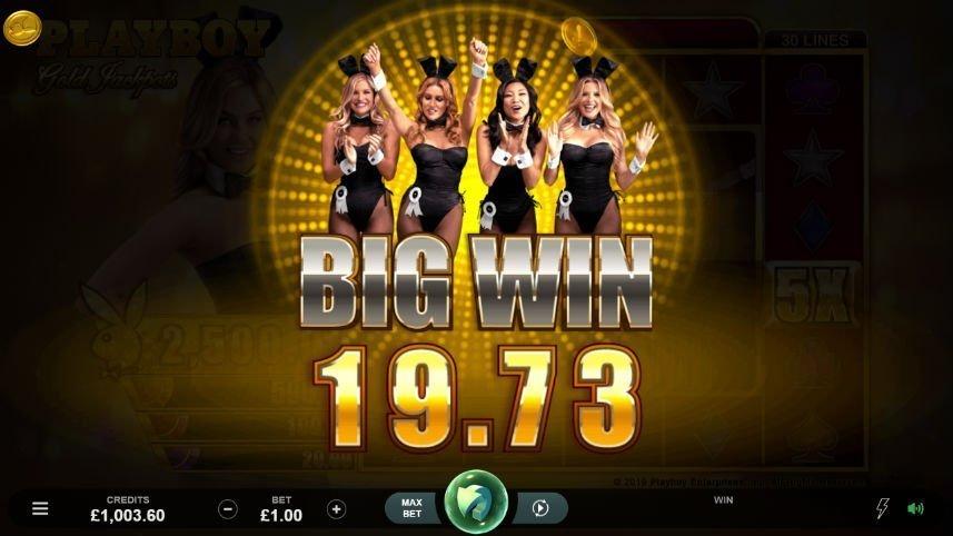 Stor vinst i Playboy Gold Jackpots. Fyra kvinnor syns i bakgrunden, framför dem syns texten BIG WIN.