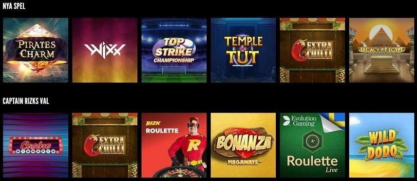 Rizk har spel från flera stora utvecklare