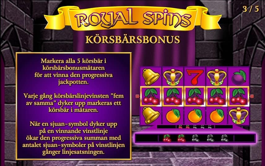 Körsbär i Royal Spins ger dig chans på jackpott