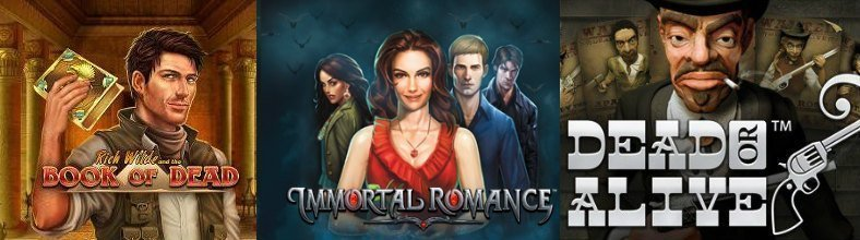Visar de tre högvolatila casinospelen Book of Dead, Immortal Romance och Dead or Alive