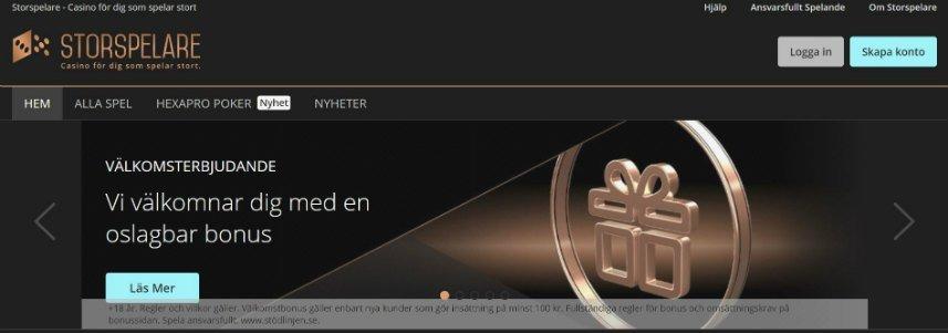 Skärmbild från Storspelares startsida. Vi ser Storspelares logotyp längs upp i vänstra hörnet. Nedan ser vi menyn och under det ser vi en banner som gör reklam för spelets välkomsterbjudande. Till vänster ser vi inloggningsalternativ.