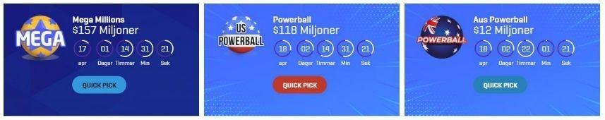Ett urval av jackpottspel tillgängliga på SuperLottoClub