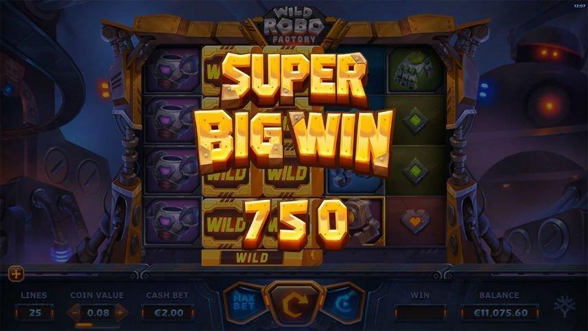 stor vinst i casinospelet wild robo factory