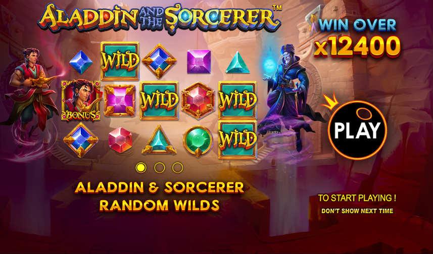 Symboler och vinstinformation från casinospelet Aladdin and the Sorcerer
