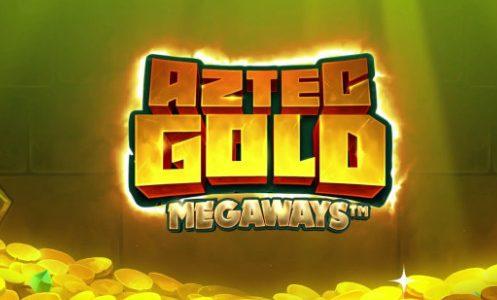 Bilden visar Aztec Gold Megaways logotyp samt en bakgrund med guldmynt på marken och ett grönt sken.