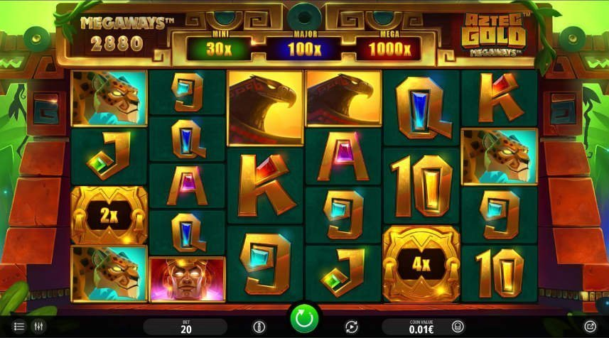 Här ser vi casinospelet Aztec Gold Megaways. Större delen av bilden täcks av spelytan som består av olika symboler i form av djur och bokstäver. Över spelytan ser vi spelets tre jackpottar (mini, major och mega). Spelytan är inramad i vad som antas vara ett tempel. Längst ned på bilden ser vi kontrollfältet.