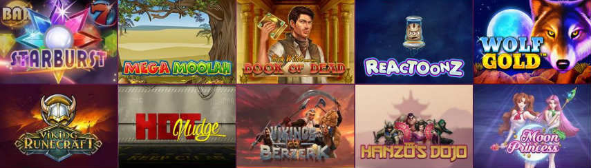 Här ser vi några av de spel som finns att spela på Bajungo. Vi ser bland annat Startburst, Mega Moolah, Book of Dead, Reactoonz, Vikings Go Berzerk och Hanzos Dojo.