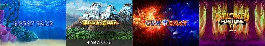 Bilden visar ett urval av casinospel tillgängliga på Bet365. Här ser vi bland annat Great Blue, jackpot Giant och Halloween Fortune II.