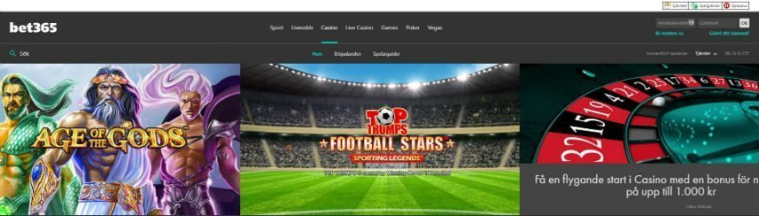 Skärmbild från Bet365:s hemsida. Här ser vi menyn längst upp. Under sysn reklam för två spel; Age of the Gods och Football Stars. Bredvid dessa är reklam för en casinobonus.