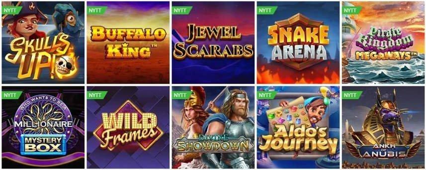 På bilden ser vi ett urval av nya spel som lanserades på Betsson i januari 2020. Vi ser bland annat Skulls UP!, Snake Arena, Wild Frames och Ankh of Anubis.