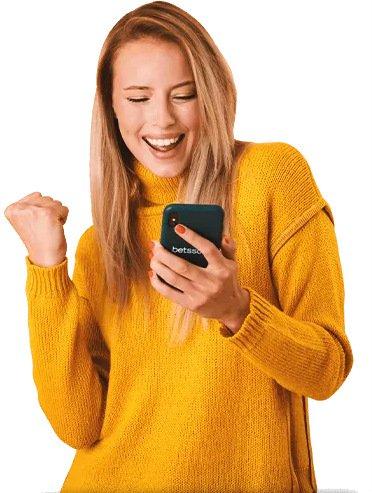 tjej med mobiltelefon, betsson