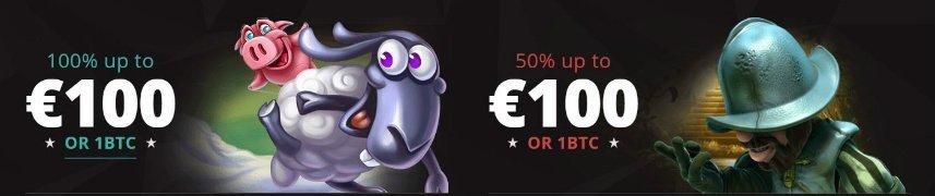 På bilden är det reklam för Bitstarz välkomsterbjudanden. Dessa erbjudanden är inte tillgängliga i Sverige då detta casinot inte är tillgängligt för svenska spelare.