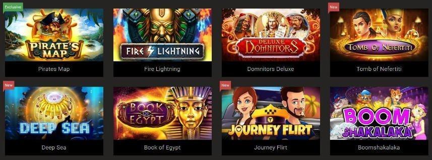 Här ser vi ett antal spel som finns på BitStarz. Vi ser bland annat Pirates Map, Deep Sea och Journey Flirt.