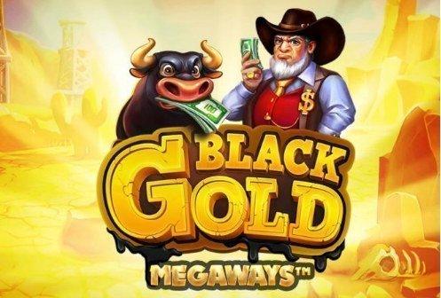 Logotyp och grafik från casinospelet Black Gold MegaWays. Grafiken föreställer en tjur och en man i hatt och vitt skägg