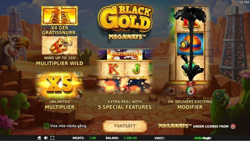 Skärmbild från menyn i Black Gold Megaways. Den visar alla de bonusar som beskrivits i recensionen.