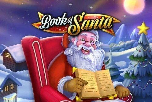 Grafik och logotyp för casinospelet Book of Santa. Jultomten sitter på en stol. Han håller i en bok som är vänd från honom.