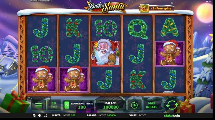 Skärmdump från casinospelet Book of Santa. På bilden ser vi spelfältet med 5 hjul och tre rader. Bland symbolerna ser vi bokstäver formade av granris, en tomte och tre pepparkaksgubbar. i bakgrunden ser vi ett snölandskap.