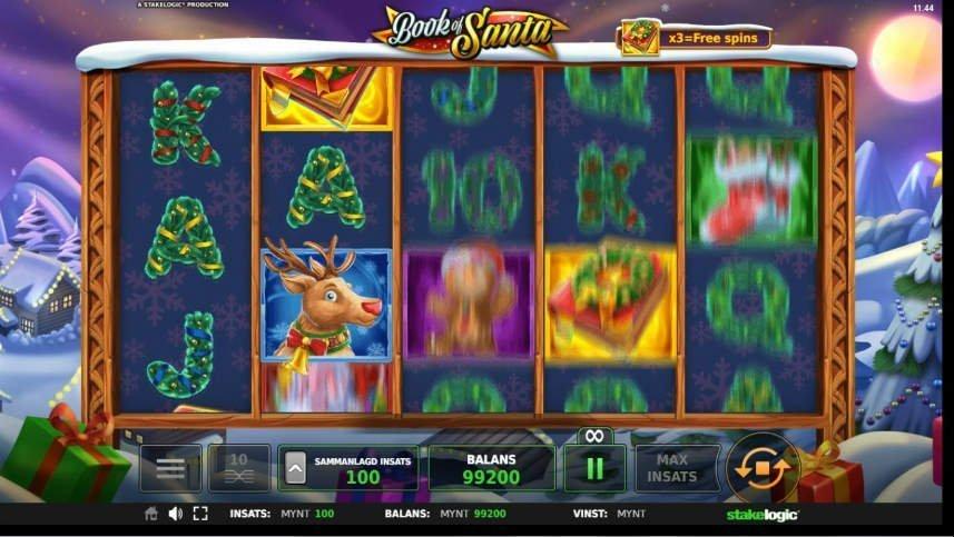 På bilden ser vi hur de fem hjulen är i snurrning i casinospelet Book of Santa